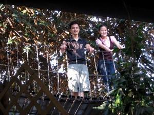 Drew and Mica at Pan de Marikina's Hanging Bridge