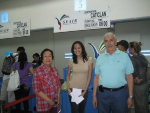 At the airport with Lolo and Lola