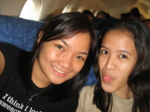 Maire and Me inside the plane