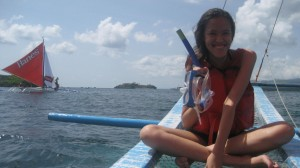 Snorkling for the first time! (Uhm, look at the boat at the background LOL)