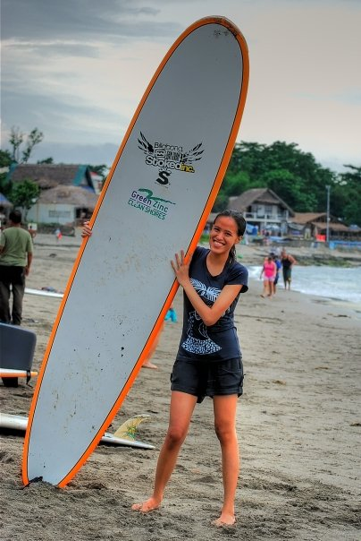 Surfing for the first time in San Juan, La Union