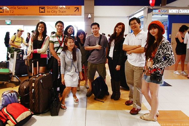 Arrival at Changi Airport with (From left to right) Mica, Jonel, Hannah, Ada, Maki, Jehzeel, Alodia, Eric, and Ashley