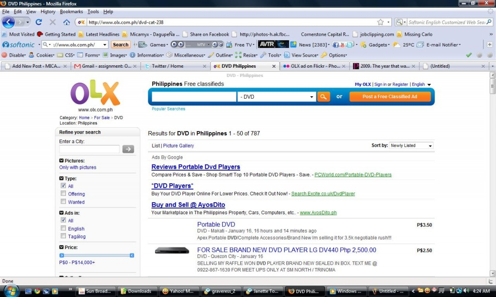 OLX Sample Classified Ads Search Result