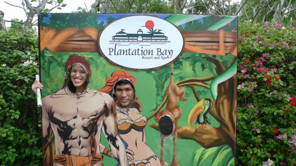 Changing Genders with Bryan before entering Plantation Bay