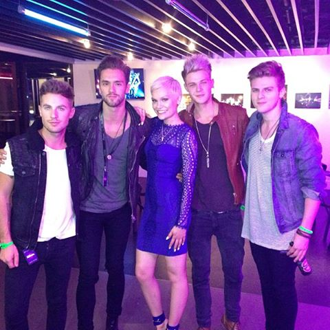 Jessie J with the boys of Lawson