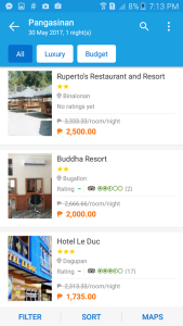 Traveloka has a listing for Pangasinan hotels (Binalonan, Bugallon, Dagupan among others!)