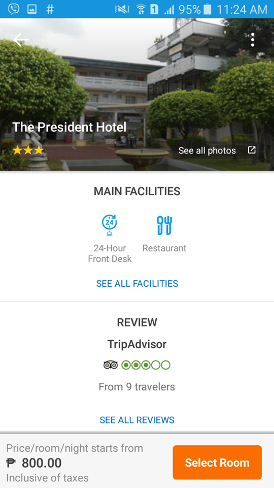 The President Hotel in Lingayen, Pangasinan as seen on the Traveloka App